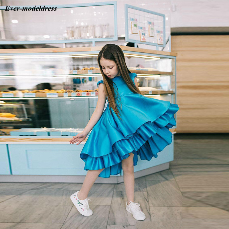 Lovely Blue A-Line   Flower     Girls     Dresses   2019 O-Neck Cap Cap Sleeves Tiered   Girls   Birthday Party Gowns Cheap