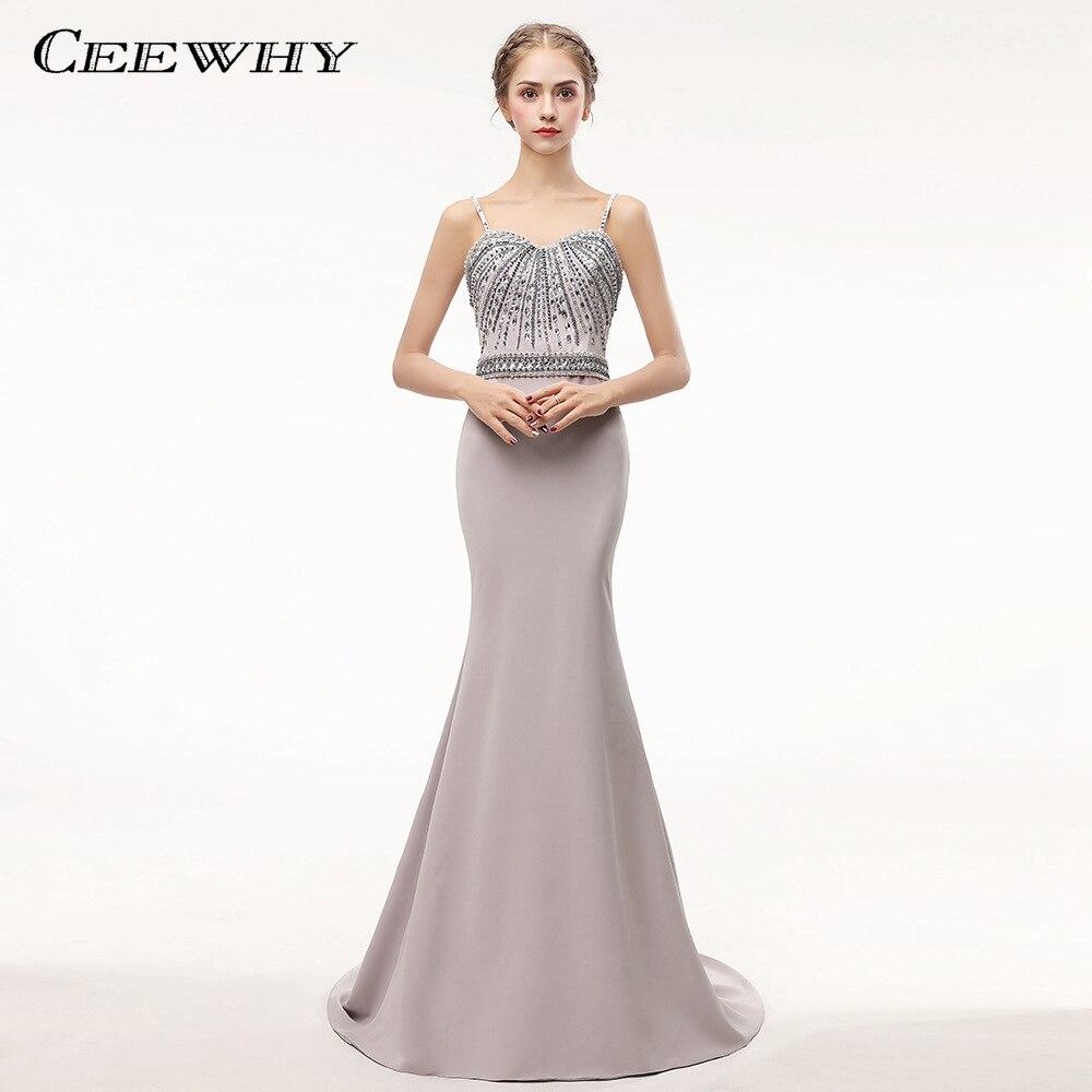 CEEWHY Robe De soirée à bretelles Spaghetti 2018 luxe élégant longue sirène robes De soirée en cristal robes De soirée Vestido De Festa