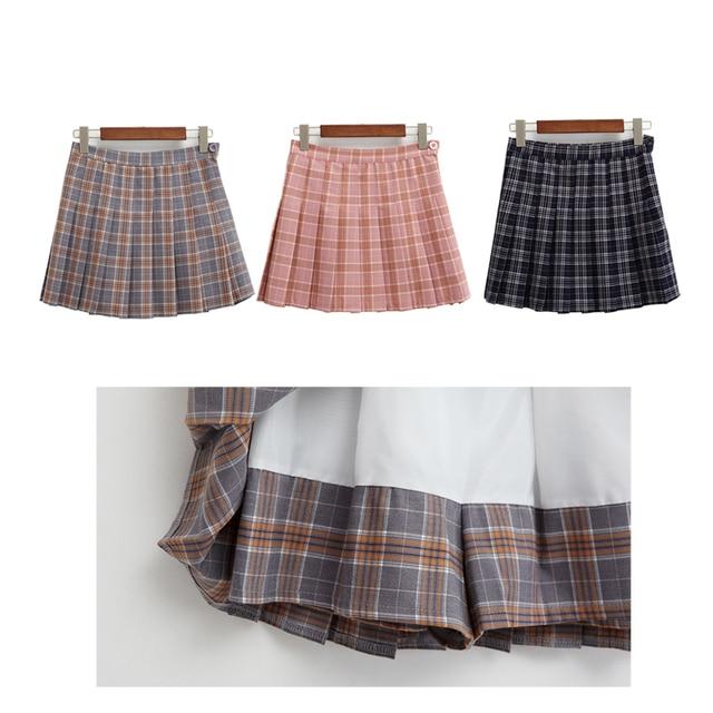Harajuku Skirts Womens 2017 Korean Summer Style New Plaid Pleated Skirt Rock Kawaii High Waist Fashion