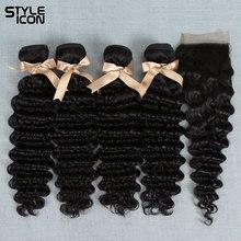 Styleicon малазийские глубокая волна с закрытием натуральный цвет очень кудрявые пряди с закрытием глубокая волна не Реми волосы с закрытием
