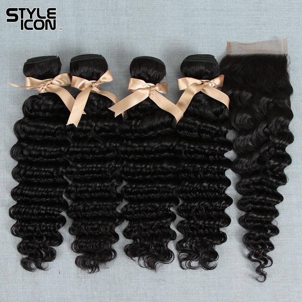Brazilian Deep Wave Bundles With Closure 3 4 Bundles Deep Wave Hair With Closure Styleicon Deep Wave Closure Add Bundles