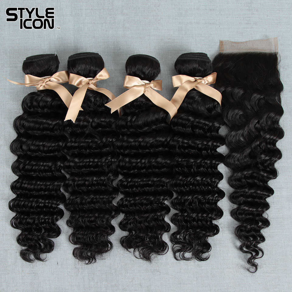 Styleicon Malaysian Deep Wave With Closure Natural Color Deep Curly Bundles With Closure Deep Wave Non-Remy Hair With Closure