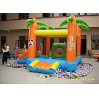 Customized trampoline playground with rocking slide for sale