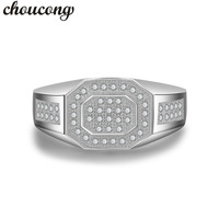 Choucong Antique Men Ring Pave Set 5A Zircon Cz 925 Sterling Silver Male Bijoux Emgagement Wedding