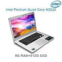 """עבור לבחור 8G RAM הכסף 512G SSD אינטל פנטיום 14"""" N3520 מקלדת מחברת מחשב ניידת ושפת OS זמינה עבור לבחור (1)"""