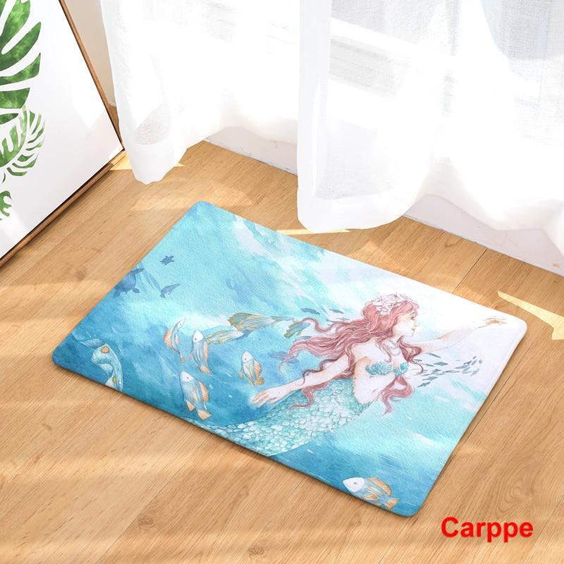 New Anti Slip Carpets Mermaid Print Mats Bathroom Floor Kitchen Rugs  40x60or50x80cm ...