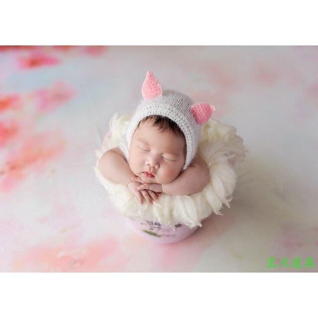 Newborn mohair bonnet knit baby lace hat newborn photography props handmade crochet moahir hat props