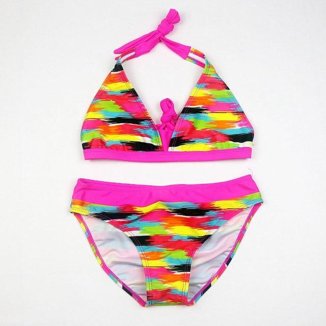 Купальники для девочек; комплекты бикини в полоску радужного цвета; купальный костюм для детей; купальный пляжный костюм; одежда для плавания; детские купальники