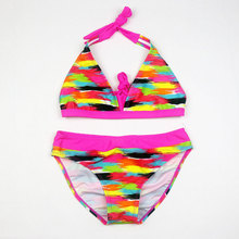 Swimsuits For Girls Bikinis Sets Striped Rainbow Color Swimwear Kids Bathing Suits Beach Swimming Clothes Baby Biquini Infantil