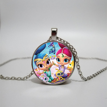 Wish Elf Little Sister Necklace Cute Cartoon Pendant Shimmer and Shine Kids Gift Convex Dome Glass