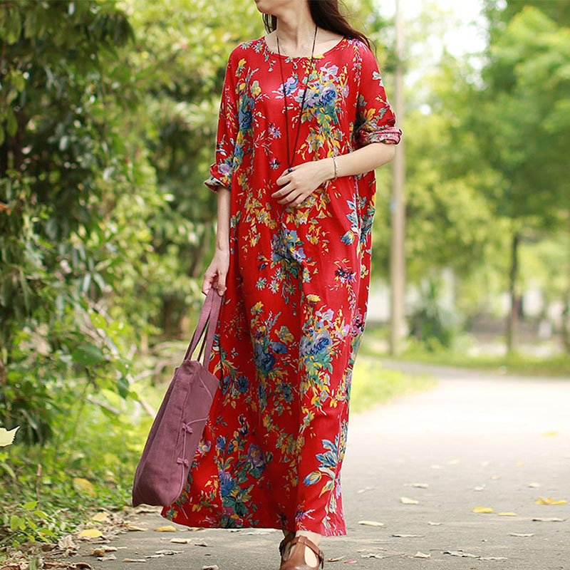 EaseHut 2019 New Vintage Women Maxi Floral Dress Plus Size Long Sleeves Pockets O Neck Cotton Linen Loose Robe Dresses vestidos 1