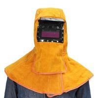 Head Wear Shawl Leather Welding Helmet Protective Mask Flip Insulation Splash Prevention High Temperature Resistance