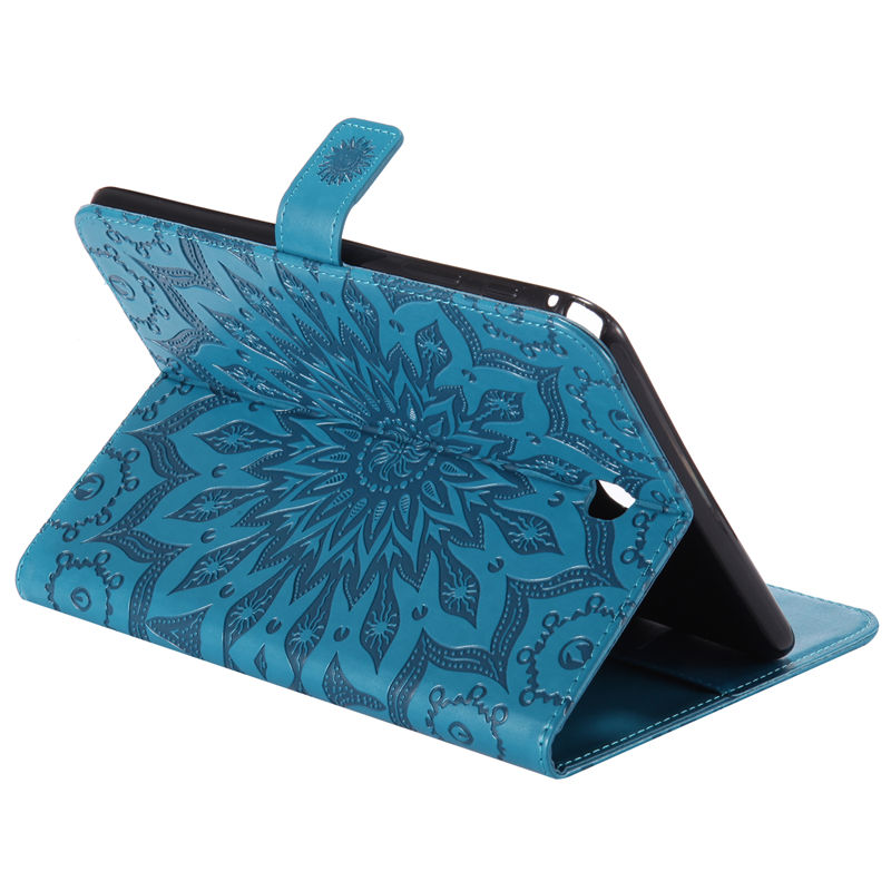 TPU + Silicon Case For Samsung Galaxy Tab A 8.0 T350 SM-T350 SM-T355 Case Tablet Sunflower Embossed Folio PU Stand Cover Funda