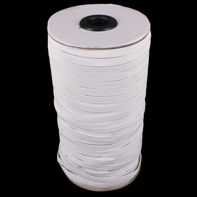 100yard 6mm 7mm 8mm 9mm White Elastic Stretch Ribbon Band Lace Trim Tape Webbing Belt Strap Craft Sewing Accessories T2406