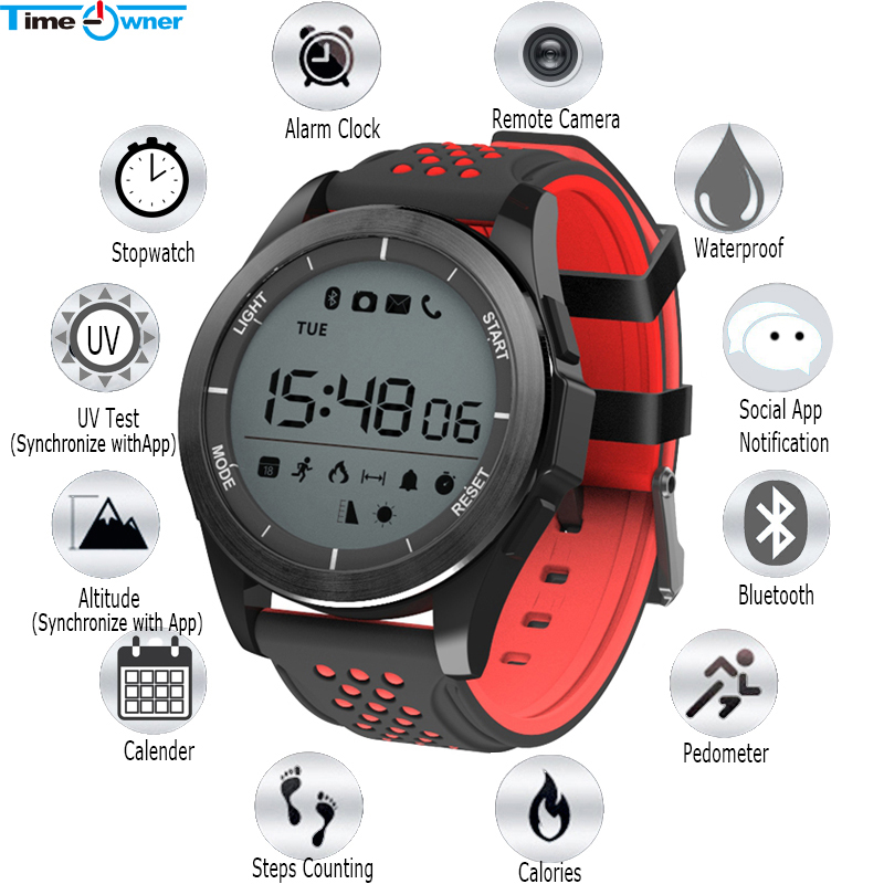 US $22 45 31% OFF|Time Owner Bluetooth Smart Watch F3 Professional  Waterproof Call/MSN/Social App Remind Fitness Tracker UV Test Sport  Smartwatch-in