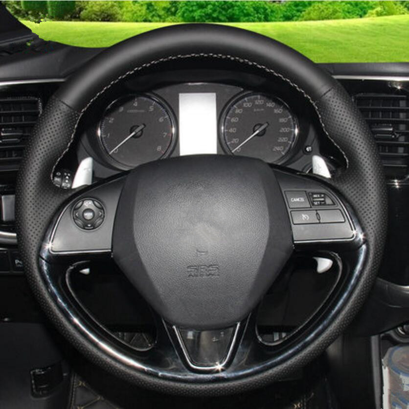 Car-styling Special Hand-stitched Black Leather Steering Wheel skin Cover case for Mitsu ...