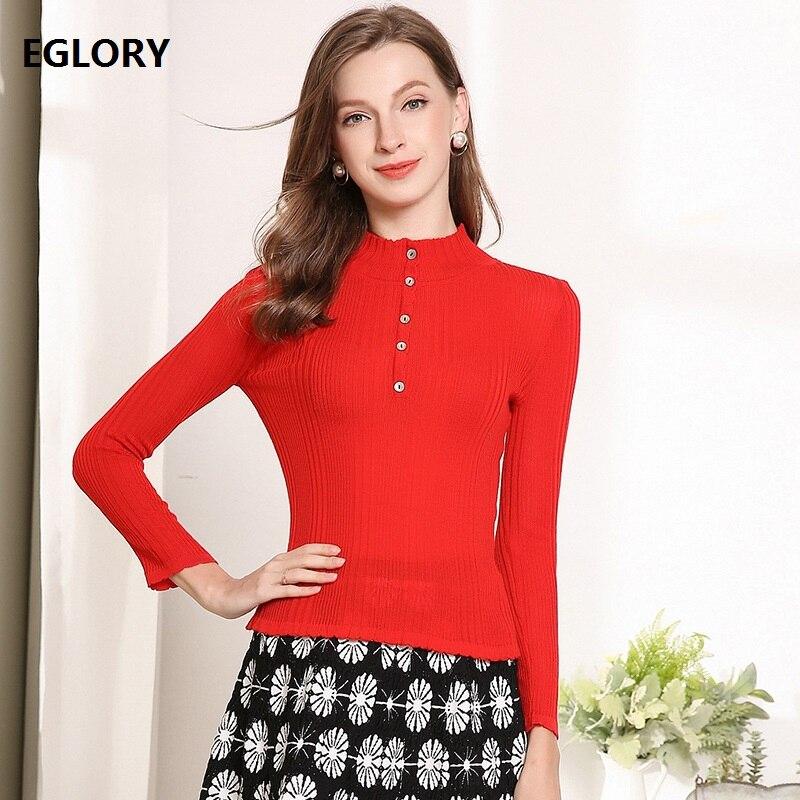 2019 printemps mode pulls femmes unique boutonnage hauts chandail dames à manches longues décontracté chandails rouge noir rose pulls Femme