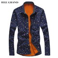 HEE GRAND Men's Shirt 2017 New Arrival Winter Thick Casual Printing Flower Fashion Warm M-XXXL Size 3 Colors MCL1119