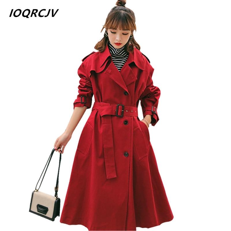 2018 Womens Trench Coats Spring Autumn Turn-down Collar Windbreaker Button Casual Spliced Long Oversize Female Coats IOQRCJV S1