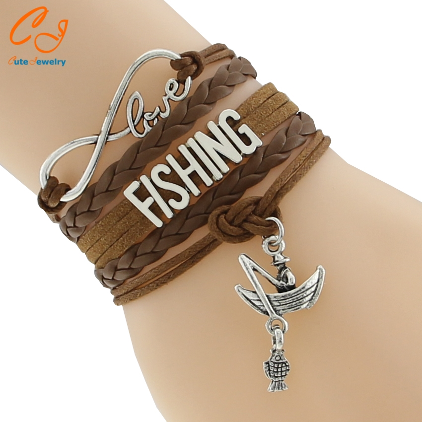 2016 new infinity love fishing charm bracelets fishman for Gifts for fishing lovers
