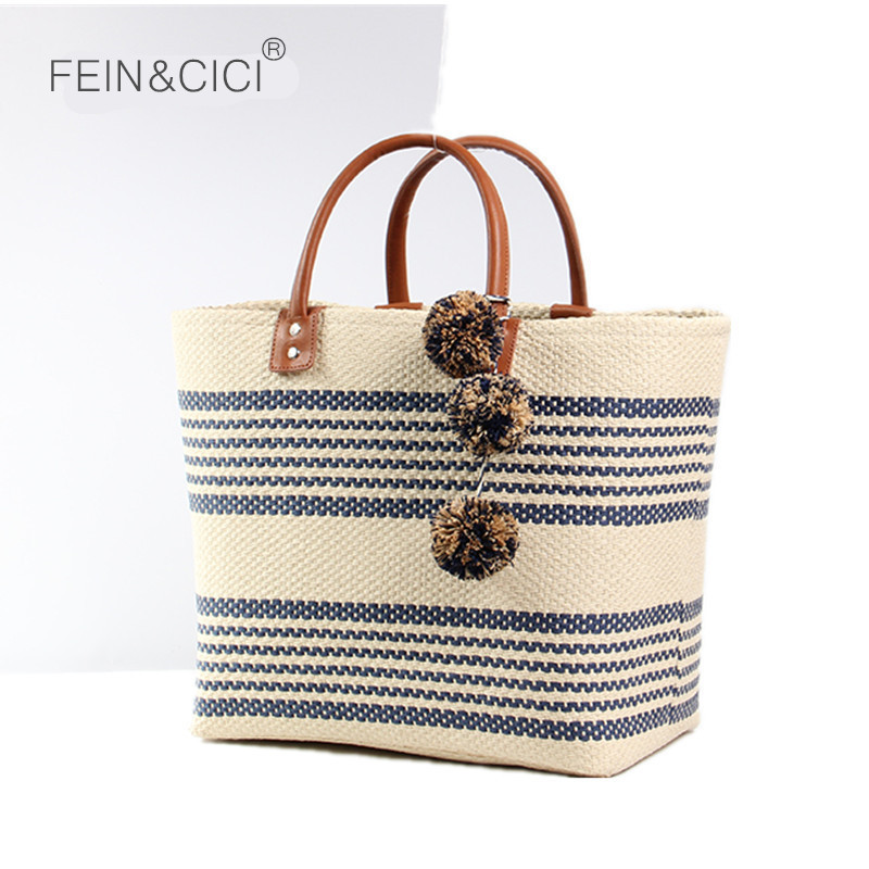 Beach bag jumbo straw totes bag summer bags women striped shopping bag handbag braided yellow 2018