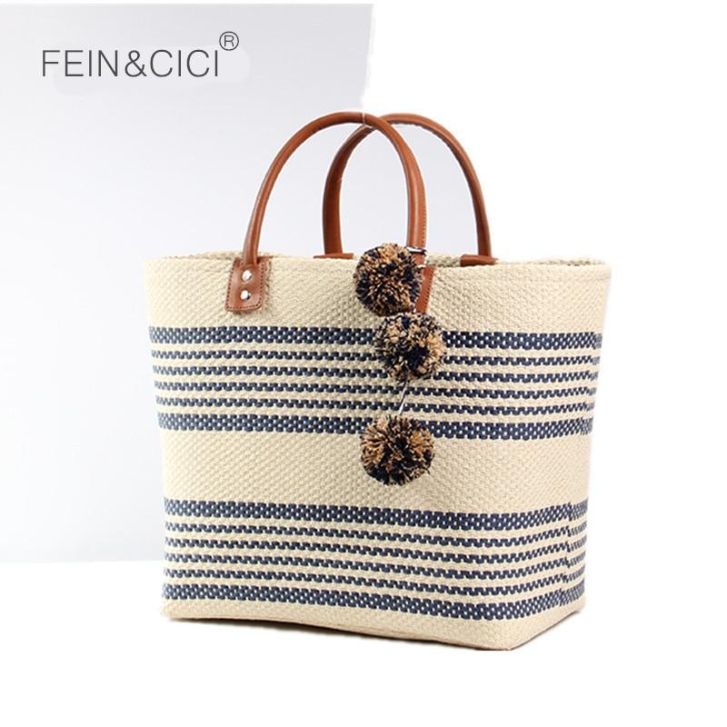 비치 가방 점보 짚 totes 가방 여름 가방 여성 스트라이프 쇼핑 가방 핸드백 꼰 노란색 2018 새로운 도착 고품질