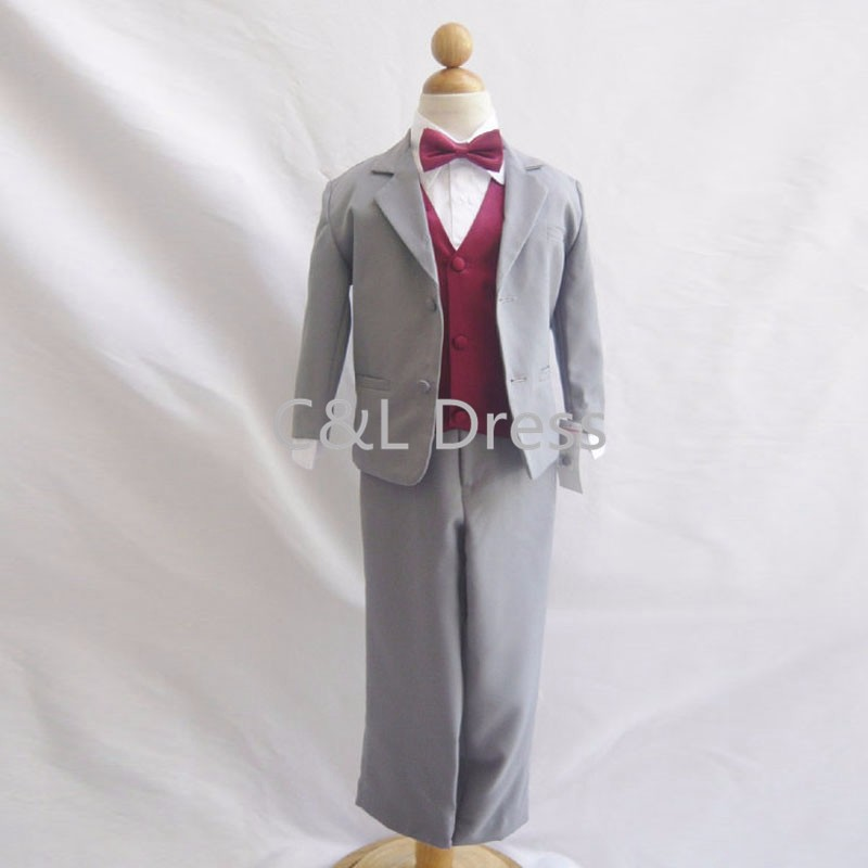 Formal Boy Suit Gray with Burgundy Vest for Toddler Baby Ring Bearer Easter Communion Long Tie Size S, M, L, XL, and More (3)