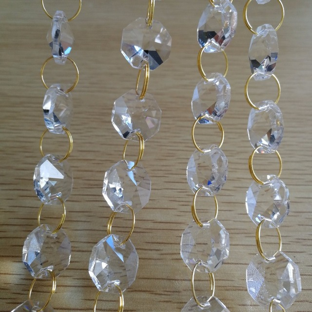 14mm 50meters Glass Garland Beads Chain Clear Beaded Crystal Strands For Wedding Decoration Chandelier