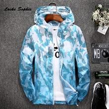 1pcs Men Plus size zipper jackets coats 2019 Summer Breathable fabrics thin camouflage Hooded Coats Mens Travel jacket coats недорого