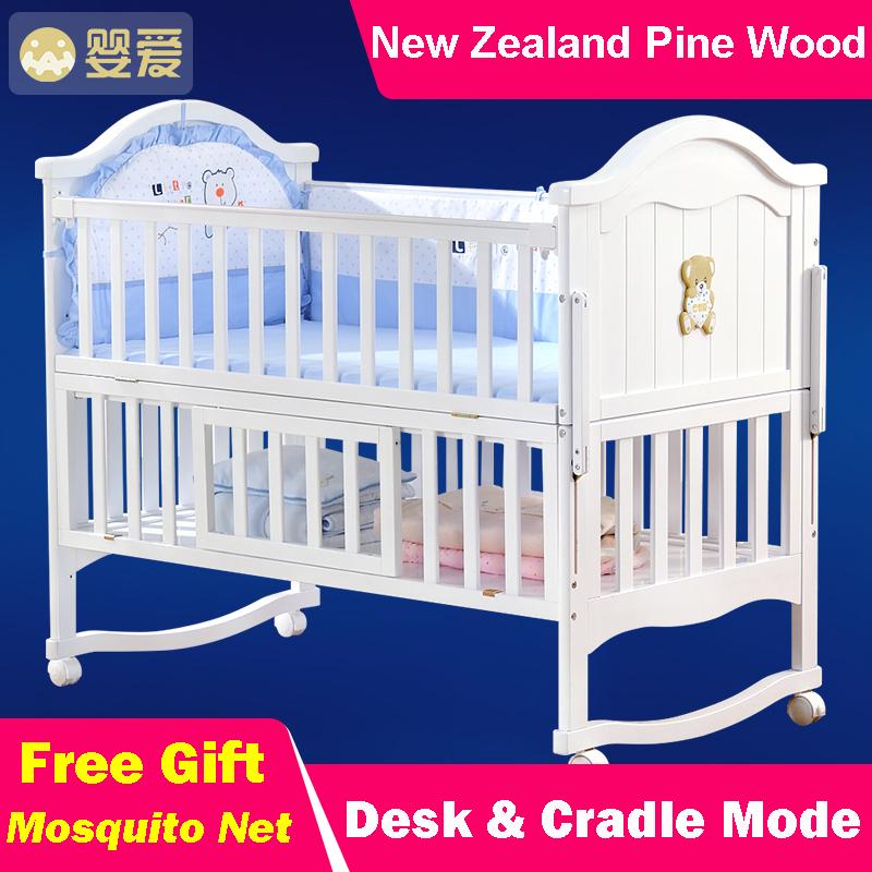 natural de madera cuna cama para nios de mltiples funciones slido newzeland madera de pino cuna
