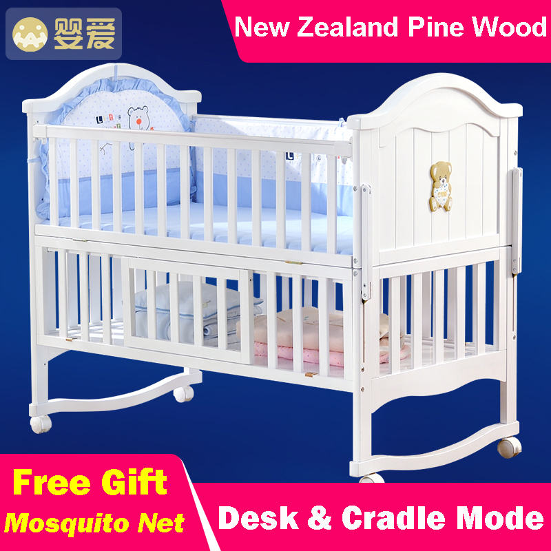 Natural Wood Baby Crib Kids Bed Multi-Function Solid Newzeland Pine Wood Infant Cradle  Newborn Playpen SGS Certified 3 Colors high quality solid wood children bed lengthen widen baby wooden bed combine big bed child kids baby crib