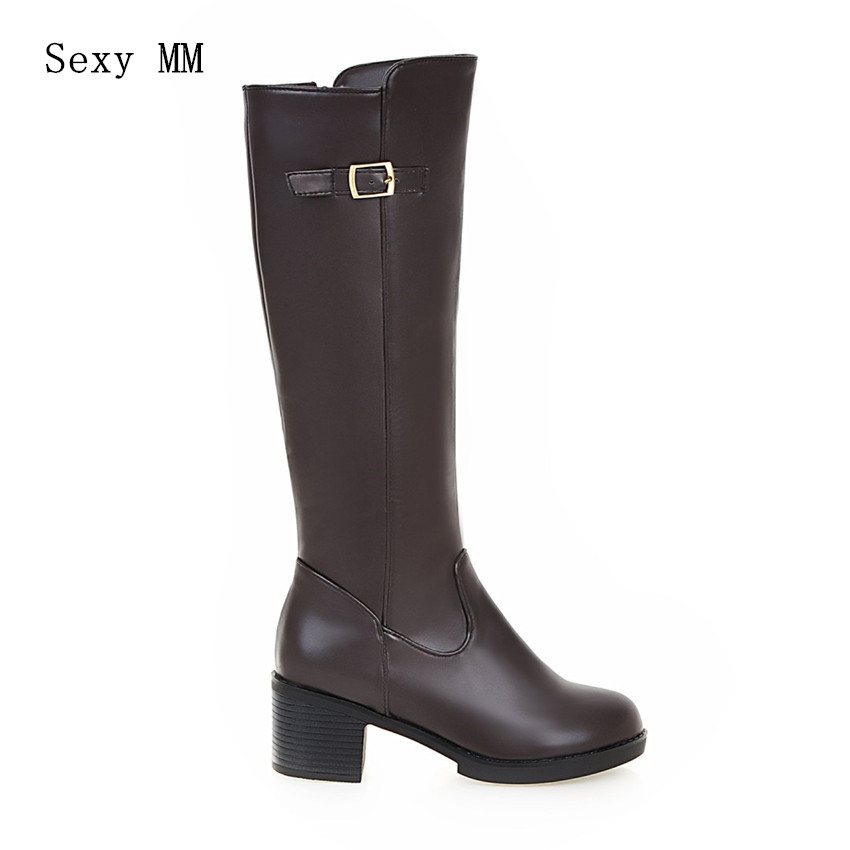 High Quality Autumn Winter Square High Heel Woman Knee-High Boots Women  Mid-Calf Boots Ladies Shoes Plus Size 34-40.41.42.43 - imall.com 9fd8b682a2b1