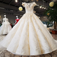 96542 Champagne Colored Wedding Dresses Cap Sleeve Gown