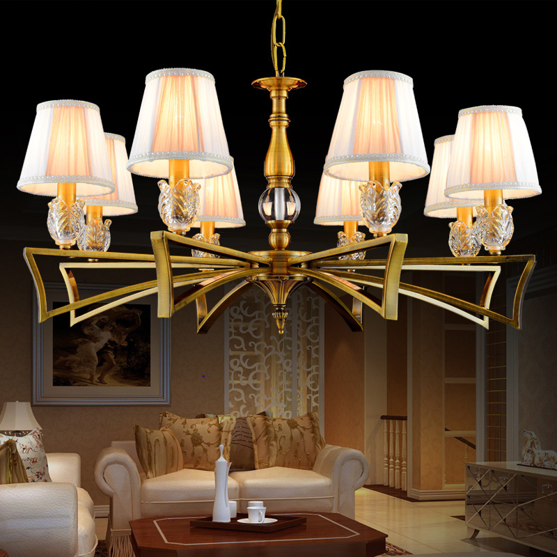 Vintage Fabric Shade 3 6 8 Bulbs Light Retro Bronze Metal Hanging Lamp For Restaurant Living Room Chandenlier Lighting Fixture