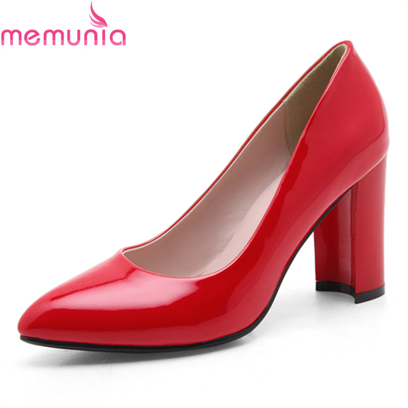 MEMUNIA spring autumn sexy pointed toe wedding shoes high quality thick high heels fashion black red white ladies shoes memunia spring autumn fashion lace up ladies shoes med heels square toe high quality patent leather black casual shoes