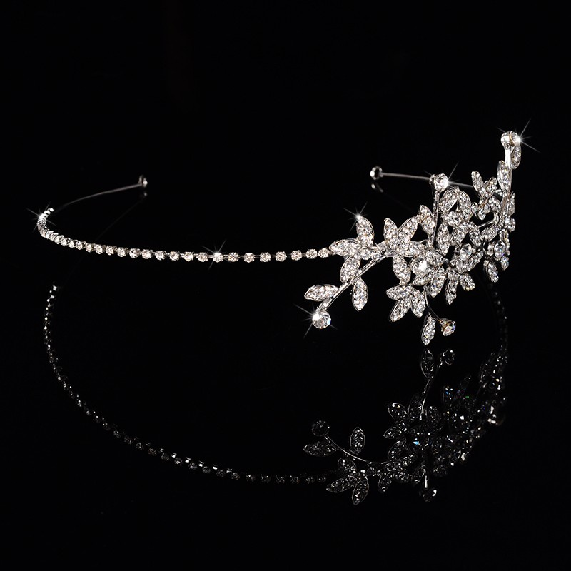 925 sterling silver luxury leaves design bridal tiara for women Austrian crystal wedding hair accessories 585 gold plated crown hair jewelry HF002 (1)
