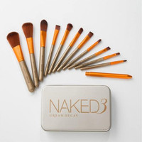 NAKED 12PC Wood Handle Makeup Eye Shadow Contour Concealer Blush Concealer Brush Set With Blender Makeup
