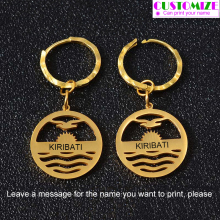 Anniyo Can Print Name/Customize Letter Kiribati Earrings for Women Girl (Please Leave a Message The You Want) #061921