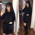 Ruso famoso TaoVK moda 2016 mujeres Bolsillo Del O-cuello abrigo de lana larga sección escudo Negro De Piel Sintética