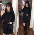 Russian famous TaoVK fashion 2016 women long section coat Black Faux Fur Pocket O-neck wool coat