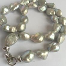 FREE SHIPPING  NEW 10-13mm SOUTH SEA GRAY BAROQUE PEARL NECKLACE