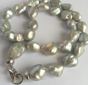 Envío Gratis nuevo collar de perla de barroca gris del Mar del Sur 10-13mm
