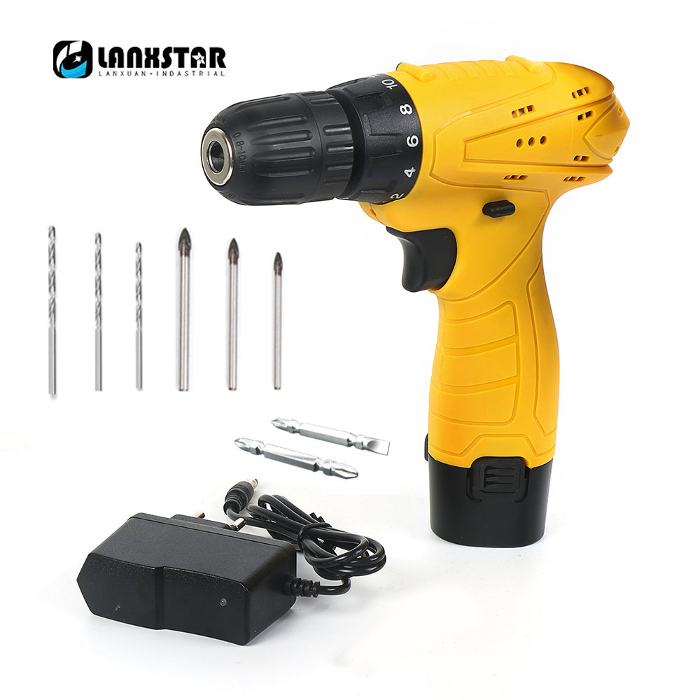 LANXSTAR 12V Electric Drill Cordless Drills Woodworking Screwdrivers Multifunction Wireless Drill Handle Drill-set