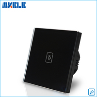 Remote Control Wall Switch EU Standard Remote Touch Switch Black Crystal Glass Panel 1 Gang