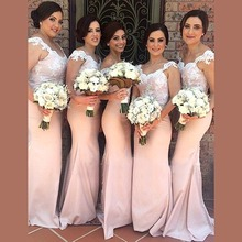 Elegant Mermaid Lace Top Bridesmaid Dresses 2016 Long Birthday Maid of Honor Dress Party Guest Prom Gowns vestido madrinha BR53