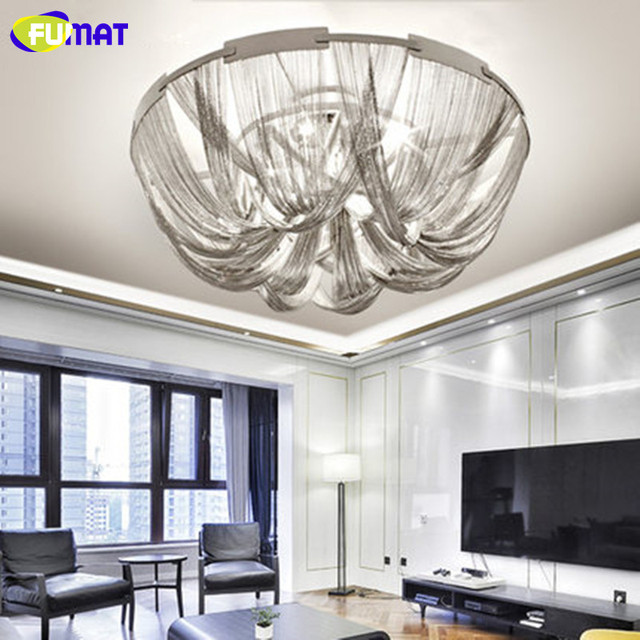 Fumat Modern Chain Tels Ceiling Lights Italy Designer Lamps Silver Dining Room Livng Aluminum