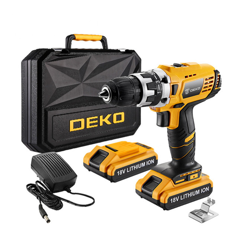 DEKO 18V 38N.m DC Lithium-Ion Battery Cordless Drill/Driver Power Tools Set Screwdriver Electric Drill Kit Father's Day Gift