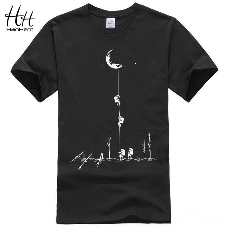 HanHent Funny T shirts Men Summer Fashion Moon Print Tshirt Casual Short Sleeve O-neck T-shirt Cotton Top Tees Dropshipping 2018 monochrome