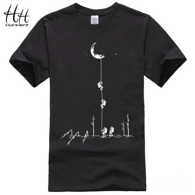HanHent Funny T shirts Men Summer Fashion Climb To The Moon Printed Tshirt Casual Short Sleeve O-neck T-shirt Cotton Tops Tees