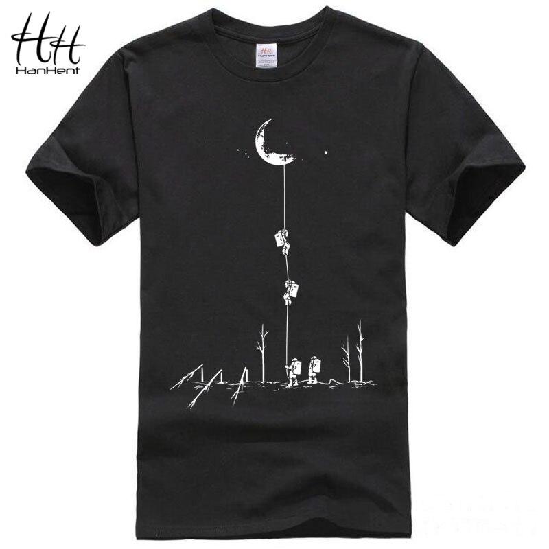 HanHent Lustige T shirts Männer Sommer Mode Aufstieg Auf Den Mond Gedruckt T-shirt Beiläufige Kurze Hülse O-ansatz T-shirt Baumwolle Tops tees